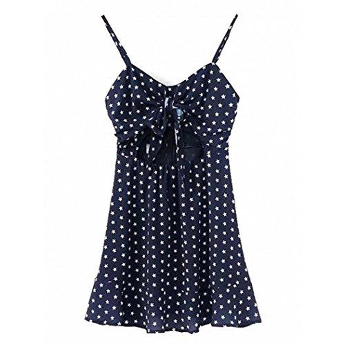 TATGB Women Sexy Dark Blue Knot Front Star Print Mini Dress (Skirt Big Star Mini)