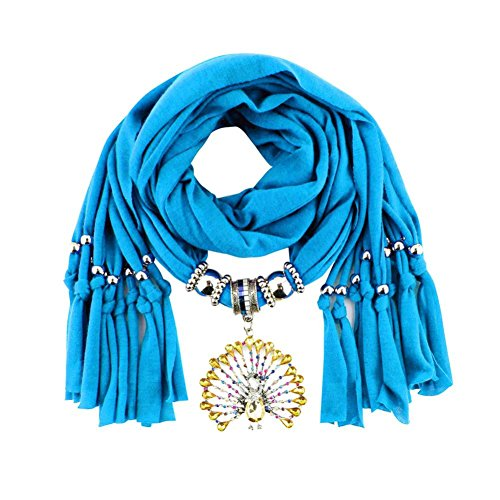 Ef Women Fancy Peacock Pendant Fringed Pendant Jewelry Tassel Rhinestone Scarves (Blue) (Fancy Dress Boxing Gloves)