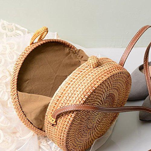 EROUGE Handmade Sling Brown Color Purse Shoulder Crossbody Straw Bag Bag r4xtrn