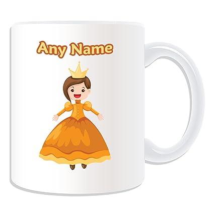 De regalo con mensaje personalizado - princesa en vestido amarillo taza (molde para hacer una
