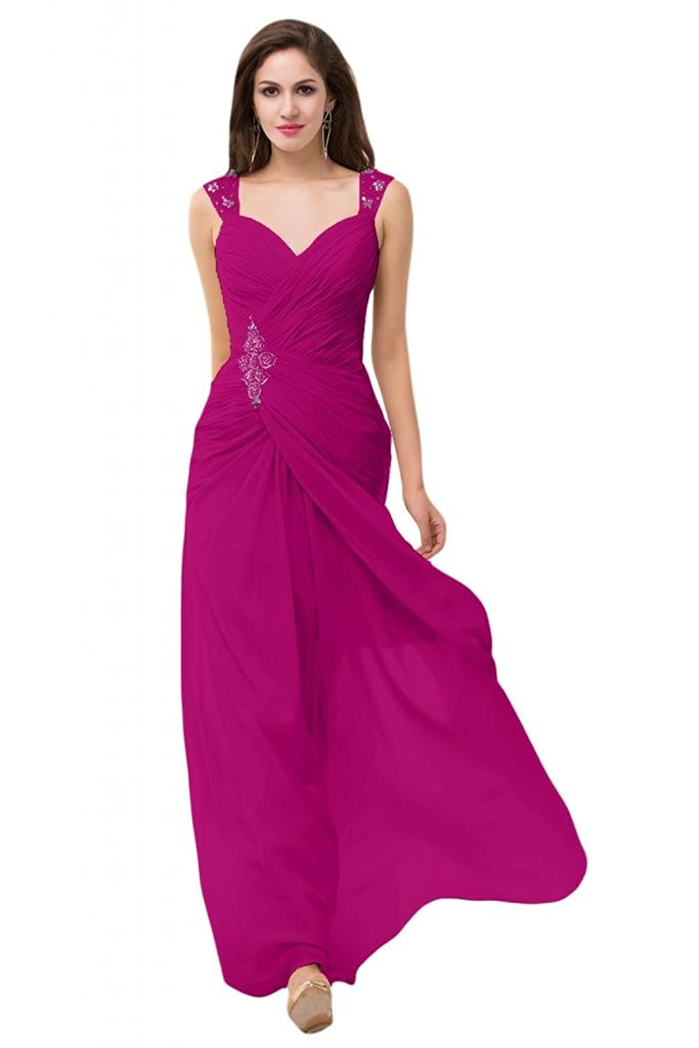 Sunvary Satin Chiffon Trailing Dresses for Bridesmaid Pageant Special Occasions