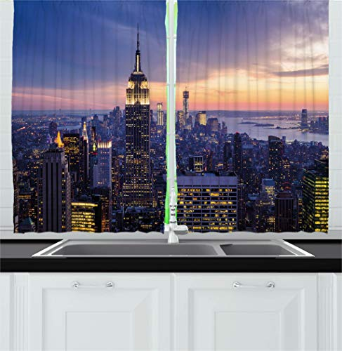 Ambesonne Modern Decor Kitchen Curtains, New York City Skyline with Skyscrapers at Sunset Night American Town Image, Window Drapes 2 Panels Set for Kitchen Cafe, 55W X 39L Inches, Blue ()