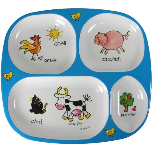 Divided Tray Baby Cie Farm Animals: Les Animaux de la Ferme Melamine Colorful dinnerware with (Cartoon Baby Farm Animals)