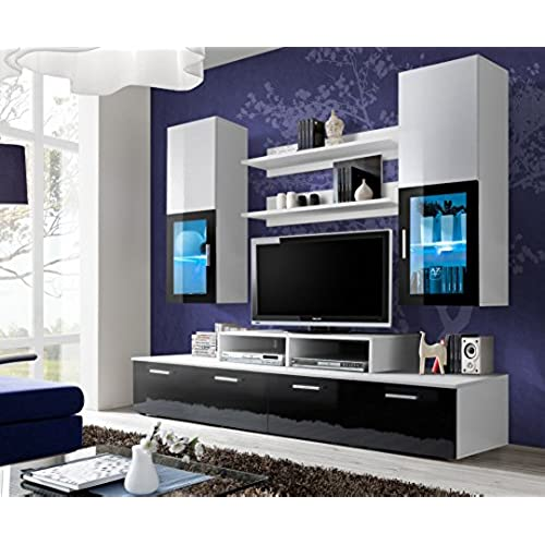 Merveilleux TOLEDO Entertainment Center With Multicolor LED System And Remote Control /  Modern Design Wall Unit For Contemporary Homes (Black And White)