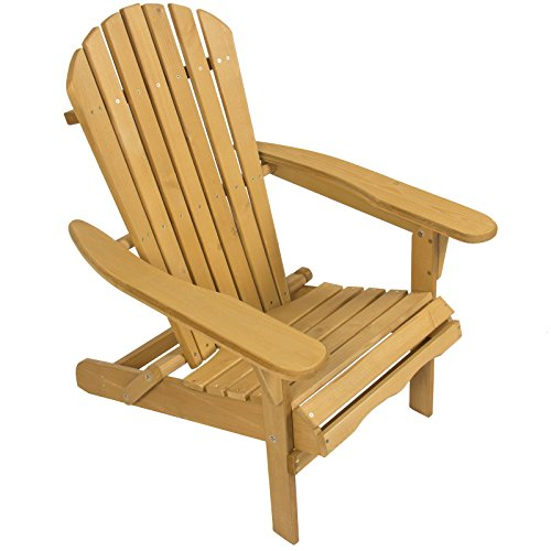 Outdoor Adirondack Wood Chair Foldable Patio Lawn Deck Garden Furniture Comfort Light ()