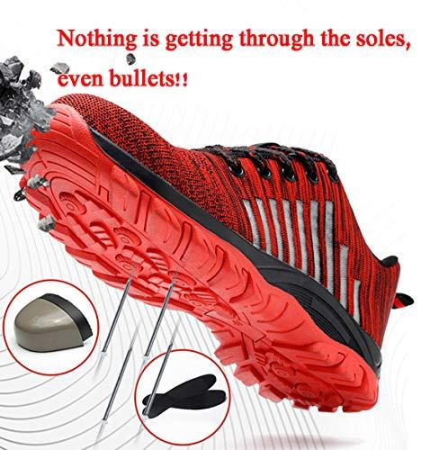 Antinfortunistiche 02 Sneaker Scarpe Ginnastica Punta All'aperto Donna Leggere In Uomo Sicurezza Sroter Lavoro Con Corsa rosso Sportive Da Acciaio Di XaUWpq