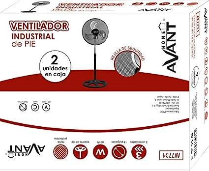 AVANT - Ventilador de Pie Industrial. 80W y 45Cm. Oscilante, Movimiento Giratorio con 3 velocidades. Altura Regulable. Negro - Pack de 2 Unidades