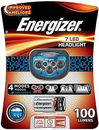 Energizer Pro 7 Headlight - Linterna (Linterna con cinta para cabeza, Negro, Azul, 7 lámpara(s), LED, 58 lm, 30 m)