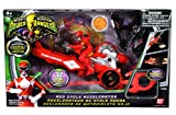 Bandai Power Rangers Mighty Morphin 3-1/2 Inch Tall Action Figure with Vehicle Zord Set - RED CYCLE ACCELERATOR with Red Power Ranger, Collectible Ape Power Coin, Dino Spinner and Ripcord Sword Plus Bonus DVD