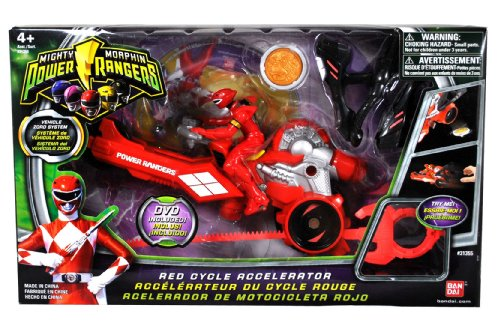 Bandai Power Rangers Mighty Morphin 3-1/2 Inch Tall Action Figure with Vehicle Zord Set - RED CYCLE ACCELERATOR with Red Power Ranger, Collectible Ape Power Coin, Dino Spinner and Ripcord Sword Plus Bonus (Power Rangers Mighty Morphin Zords)