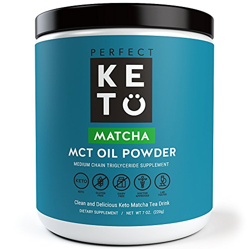 Matcha Green Tea Powder w MCT Oil | Organic Ceremonial Grade Japanese Matcha Powder w Medium Chain Triglyceride Powder For Ketosis and Ketone Energy | Matcha Latte Drink - Keto Coffee alternative