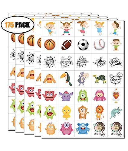 Temporary Tattoos for Kids - 175 Count on 5 Sheets - 35 Assorted Artworks per Sheet - Kids Friendly Tattoos for Party Favors Birthday Supplies Stocking Stuffers Goodie Bags for Boys & Girls -