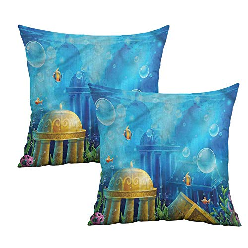 Khaki home Ocean Square Kids Pillowcase Ancient Atlantis Under Sea Square Funny Pillowcase Cushion Cases Pillowcases for Sofa Bedroom Car W 24