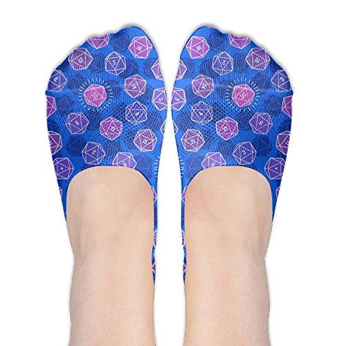 Worthless Hidden No Show Liner Geodesic Dice Blue Athletic Running Socks Non Slip Flat Boat Line