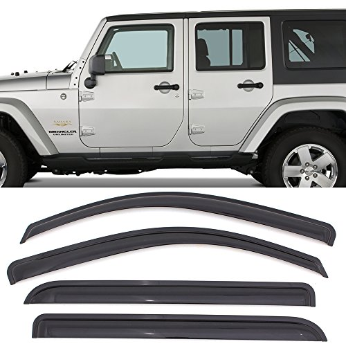 Window Visor fits 2007-2017 Jeep Wrangler | Acrylic Unpainted Black by IKON MOTORSPORTS