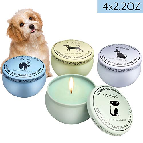 BAG WIZARD Eco-Friendly 100% Soy Wax Candle Pet Odor Eliminator Reusable Tin Jar Scented Candles Home Pet Candle, Up to 12 Hours Burn Time,4 Packs/Box