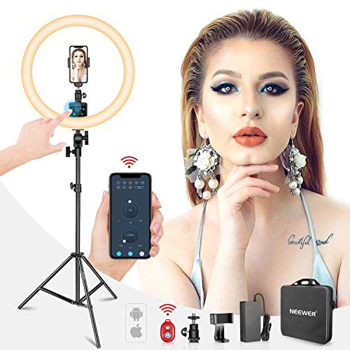 Neewer APP Control 16-inch LED Ring Light, Support Manual Touch Control with LCD Screen, Multiple Lights Control, 3200-5600K, Light Stand Included for Makeup YouTube Video Blogger Salon (White)