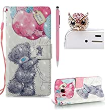 For Samsung Galaxy J5 2016 Flip Leather Case,SKYXD New Look 3D Pattern Design Leather Wallet with Card Holder Folio Flip Bookstyle Full Body Protection Case Cover for Samsung Galaxy J5 2016 + 1x Stylus + 1x Dust Plug,Balloon Bear