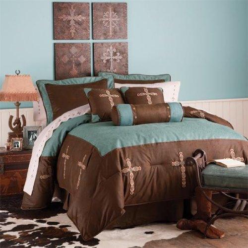 Blue Tooled Cross 7 Piece Comforter Set Super Queen
