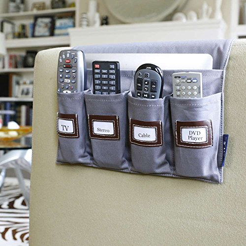 Sofa Pocket Organizer - G.U.S. 5-Pocket Sofa Armrest Organizer with Custom Labels, TV Remote Control Organizer Holder for Sofa Couch/Chair, Remote Caddy, Fits Remotes for Television, Speakers, Apple TV, DVD player, and more
