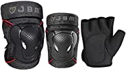 JBM BMX Bike Knee Pads and Elbow Pads with Wrist Guards Protective Gear Set for Biking, Riding, Cycling and Mu