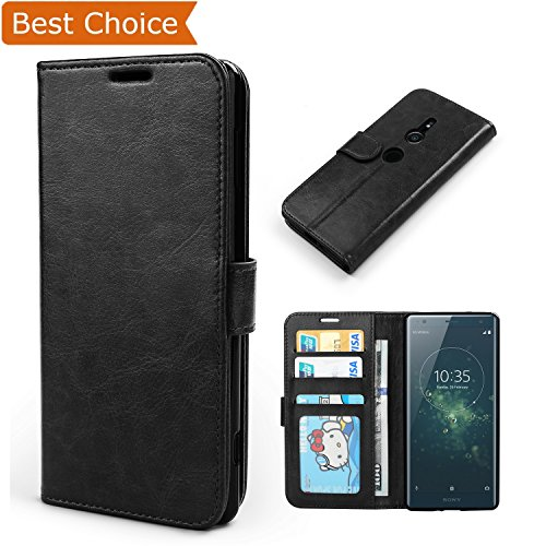 Vivefox Sony Xperia XZ2 Case - Durable Leather Folio Case, All-Around Protective Case with 3 Card Slots/Side Pocket/Magnetic Closure for Sony Xperia XZ2 5.7-inches - Black