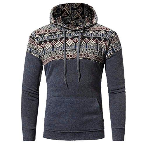 Shubuy Mens Sweatshirt, Men Retro Long Sleeve Hoodie Fashion Hooded Sweatshirt Tops Jacket Coat Outwear (Dark Gray, XL) by Shubuy
