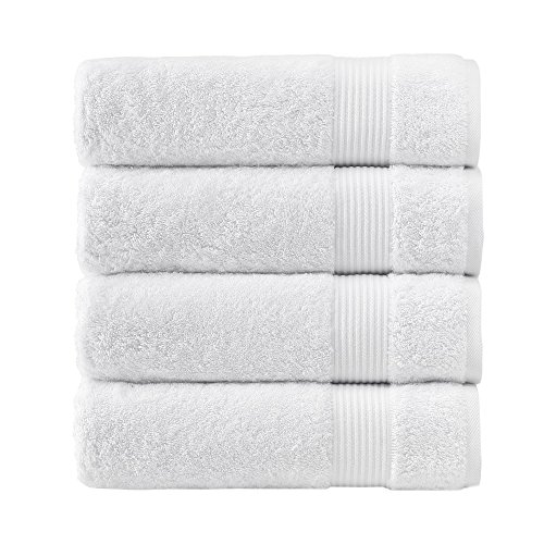 Luxury Hotel & Spa, Turkish Combed Cotton 28x54' Extra Large 4-Piece Bath Towel Set for Maximum Softness and Absorbency by American Soft Linen, White