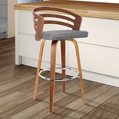 "Armen Living  Jayden Mid-Century Swivel Counter Height Barstool, 26"", Gray"
