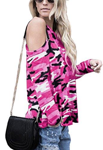 Giovane a Spalla Autunno Fashion Rosa Casual Donna e Collo Nuda Tops Simple Mimetico Primavera Maglie Blouse Maglietta Rotondo Manica Moda Lunga T Rossa Shirt wXqSTx6x