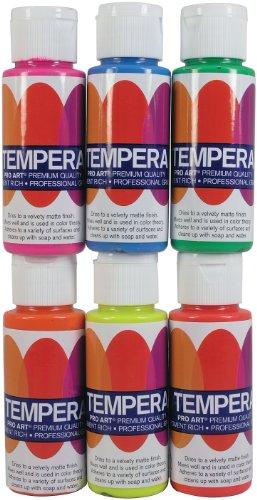PRO ART 2-ounce 6 Color Tempera Paint Set, Fluorescent ()
