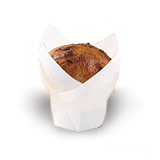 """Tulips White Silicone Baking Cup Liner (Case of 1000), PacknWood - Parchment Paper Cupcake Liners (3 oz, 3.5"""" x 1.5"""") 209CPST3B"""