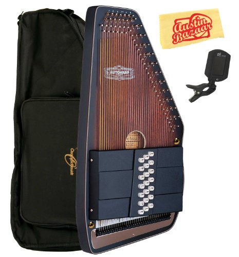 Oscar Schmidt OS110-21AE 21 Chord The Americana Autoharp with Fine Tuning System and Passive Pickup Bundle with Gig Bag, Tuner, and Polishing Cloth by Oscar Schmidt