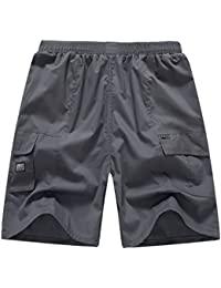 Men Cargo Short Pants Summer Loose Fit Casual Boardshorts with Pockets Plus Size