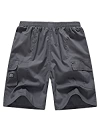 AIEOE Men Cargo Short Pants Summer Loose Fit Casual Shorts with Pockets Plus Size