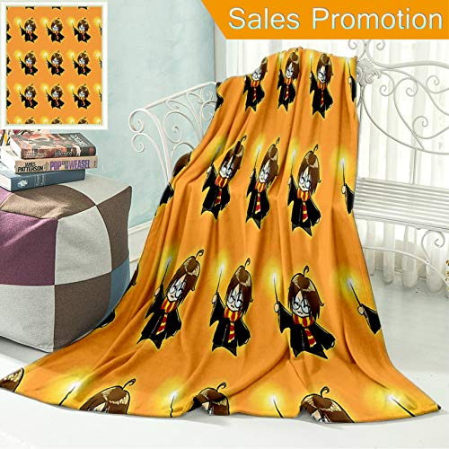 Unique Custom Flannel Blankets Wizard Cartoon Character with