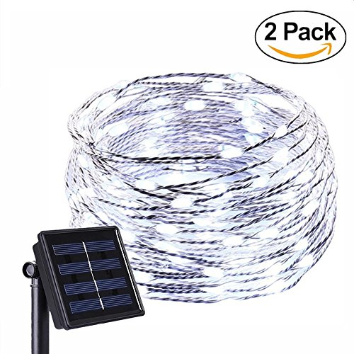 (Anxus Solar String Lights, 100 LEDs White Starry String Lights, Copper Wire solar Lights Ambiance Lighting for Outdoor, Gardens, Homes, Dancing, Christmas Party (2 pack) )