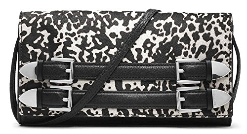 MICHAEL Michael Kors Robin White & Black Print Haircalf Leather Clutch Crossbody Bag by MICHAEL Michael Kors