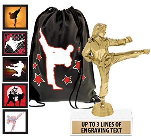 Crown Awards Karate Goodie Bags, Karate Favors for Karate Themed Party Supplies Comes with Personalized Female Kick Kids Karate Trophy, Set of Karate Stickers and Karate Drawstring 50 Pack Prime