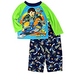 Miles From Tomorrowland Boys Poly Pajamas (2T, Green Let's Rocket)