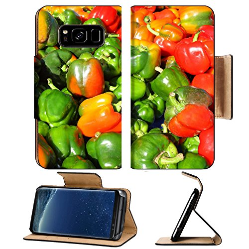 Luxlady Premium Samsung Galaxy S8 Flip Pu Leather Wallet Case IMAGE ID: 25597847 a large pile of green red and yellow bell peppers out in the sun on a sale table at a farmer