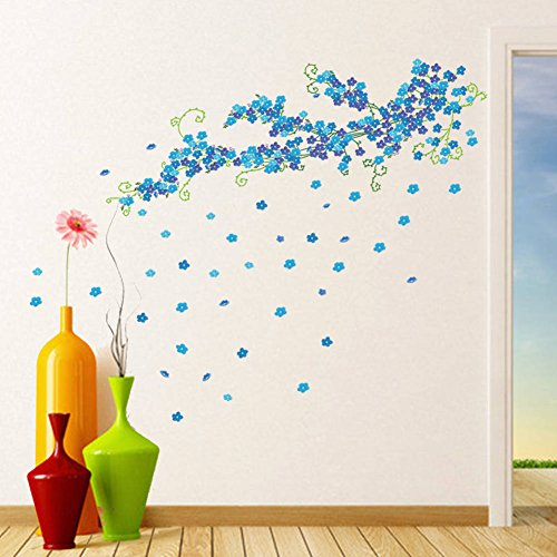 BIBITIME Blue Plum Blossom Wall Decal Green Vines with Flowers Sticker for Living Room TV Background Decorations Nursery Bedroom Kids Room Decor Art Mural DIY