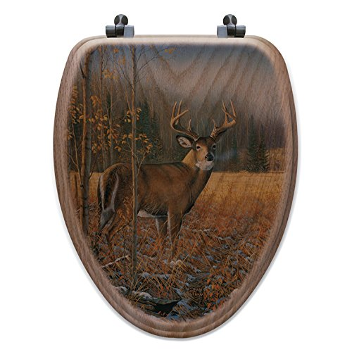 Black Forest Decor November Whitetail Deer Toilet Seat - - Coat Rack Oak Woodland