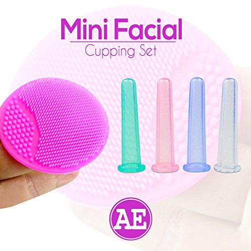 Mini Facial Cupping Therapy Kit for Face Brows, Neck with Anti-Aging EBook. Silicone Cups reduce wrinkles and aging lines, increases collagen. Facial Brush exfoliates and increases blood circulation.