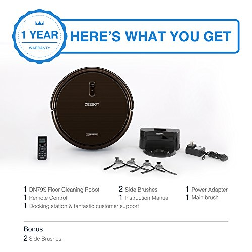 ECOVACS DEEBOT N79S Robotic Vacuum Cleaner with Max Power Suction, Alexa Connectivity, App Controls, Self-Charging for Hard Surface Floors & Thin Carpets