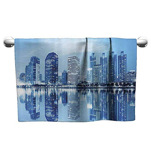Mannwarehouse Blue Quick Dry Towel Night Scene of City Buildings Architecture Twilight Water Reflection Metropolitan W14 x L27 Blue Light Blue