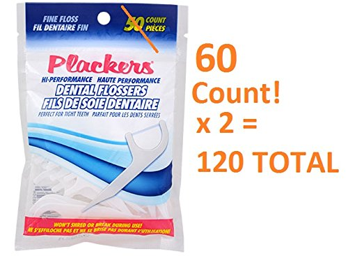 Plackers Hi Performance Fine Flossers 60 x 2 Bags = 120 Total (Flossers Plackers Dental)