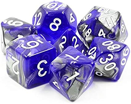 HD Polyhedral Dice Sets D/&D Dice for Dungeon and Dragons RPG Role Playing Games MTG Pathfinder Table Top Games 7 Dice Set Blue Flakes