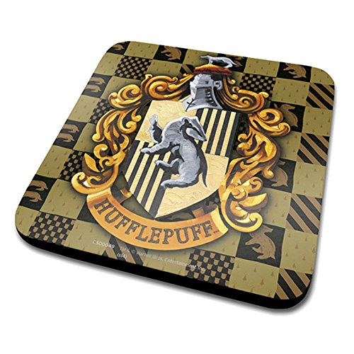 Harry Potter Hufflepuff Crest Official Drinks Coaster Protective Melamine Cover with Cork Base, Multi-Colour, 10 x 10 cm ()