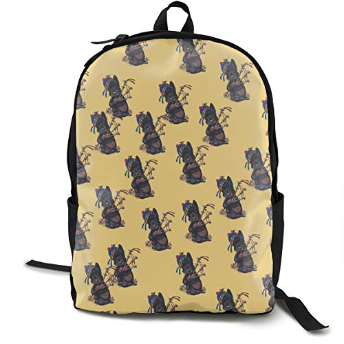 Climbing Picnic Running Backpack Daypack Durable Polyester Anti-Theft Multipurpose Rucksack Large Capacity Bookbag, Scottie Dog With Bagpipes - Backpack Scotty